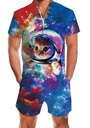 Men's Rompers Male Zipper Jumpsuit Shorts Space Astronaut Cat One Piece Romper Slim Fit Outfits Camouflage Bro Short Sleeve Overalls