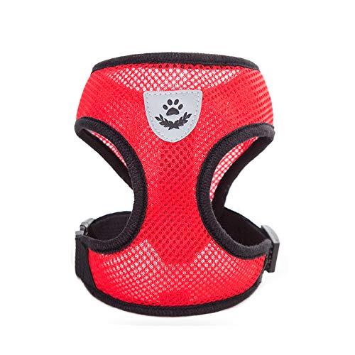 Vektenxi Netzgeschirr mit gepolsterter Weste, verstellbares Modehundegeschirr Weiche Netzweste Hundeleine Brustgurt Rot Tragbar und nützlich