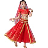 Belly Dance Costumes for Girls 3-Piece Set Bollywood Indian Arabian Performance Dress Kids Carnival Fancy Outfit (131-155cm/51-61in, Red)