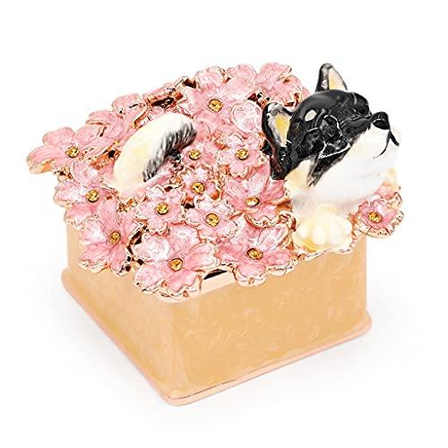 LTCTL Shiba Inu Joyería Caja Mini Perro Trinket Caja Cristal Animal Estatua Joyería Organizador Caja Única Anillo Titular Regalo para (Color : Jewelry Box F)