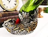 Ebros Steampunk Industrial Victorian Sci Fi Cyborg Robotic Great Horned Owl Wine Bottle Holder Figurine with...