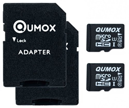 QUMOX 2pcs Pacchetto 32GB MICRO SD MEMORY CARD CLASSE 10 UHS-I da 32 GB HighSpeed Velocità di scrittura 15 MB / s Velocità di lettura fino a 70MB / S
