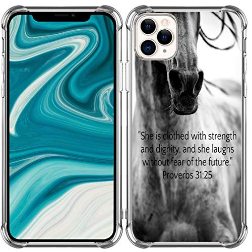 Case for iPhone 13 Pro Max Verse Christian - [Slim Fit] Bumper Compatible with iPhone 13 Pro Max [Bible Verse She is Clothed with Strengh and Dignity Horse]