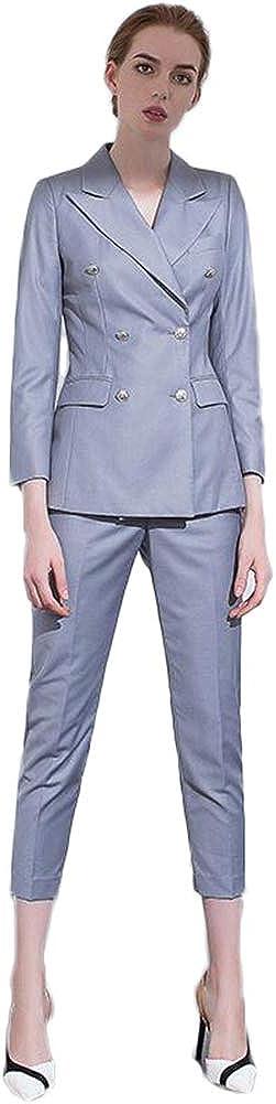 Women's Double Breasted 2 Pieces Office Suit Set Lady Business Suit