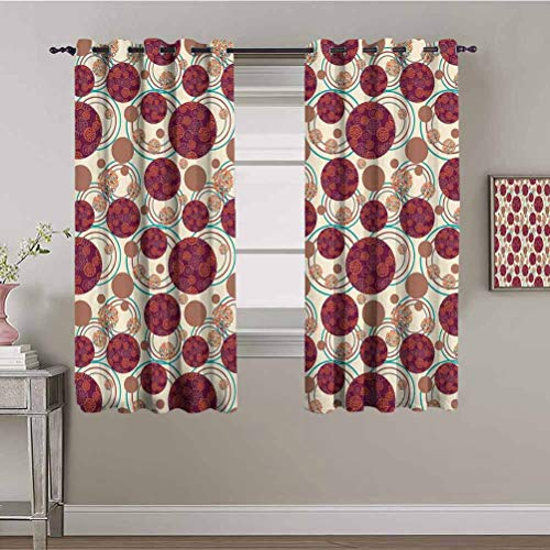 PGREA Grommet Thermal Insulated Curtains Earth Tones Geometrical Circles and Ornament of Dots Inside with Spirals and Wavy Lines Multicolor Triple Weave Drapery Grommet Top 72x84 Inch