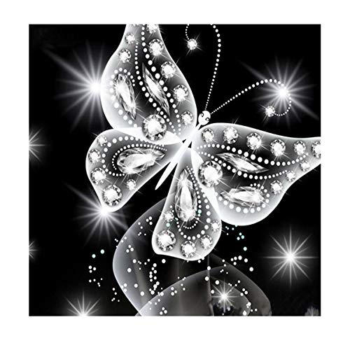 MXJSUA DIY 5D Diamond Painting Kits Full Drill Round Crystal Rhinestone Pictures Arts Craft for Home Wall Decor Gift Silver Butterfly 12x12in