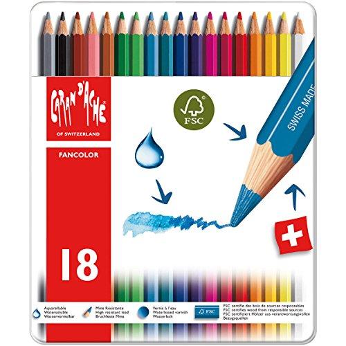 Caran D'Ache Fancolor - Scatola in metallo con 18 Matite colorate acquerellabili, colori assortiti