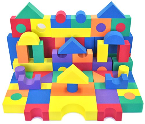 EWONDERWORLD Non-Toxic 70 Piece Non-Recycled Quality foam Wonder Blocks for Children: Soft, Quality, Waterproof, Bright Safe & Quiet