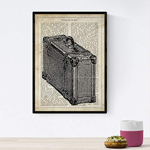 Nacnic Posters de Objetos Vintage. Lámina Maleta Vintage con imágenes de Objetos e Instrumentos Vintage, con definiciones en español. Tamaño A4 con Marco