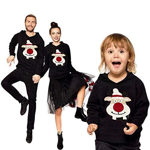 Shujin Weihnachtspullover Weihnachten Set Familie Unisex Herren Damen Baby Kinder Weihnachtspulli Ugly Christmas Sweater Rundhals Warm Langarm Sweatshirt Herbst Winter Pulli Outfits