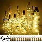 DECORMAN Wine Bottle Cork Lights, 15 Pack 10 LED Cork Shape Silver Copper Wire LED Starry Fairy Mini String Lights for DIY/Decor/Party/Wedding/Christmas/Halloween (Warm White)