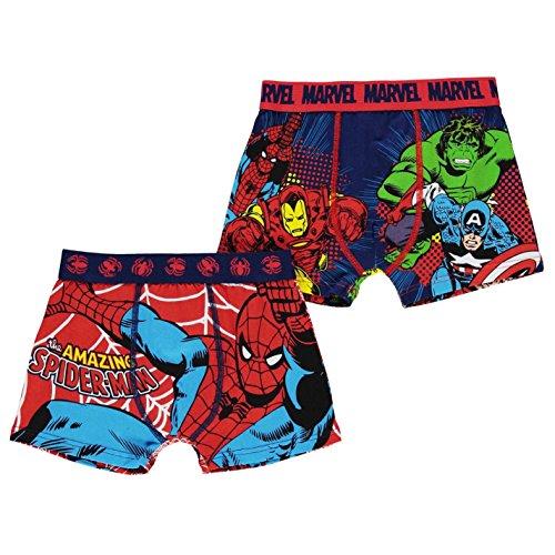 Character Kinder-Boxershorts für Jungen, dehnbar, 2 Stück Gr. 7-8 Jahre, Marvel