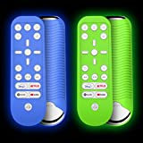 [2 Pcs] Case for PS5 Media Remote, Alquar Shockproof Anti-Slip Silicone Protective Cover for Sony Playstation 5 Media Remote Control, Washable, Anti-Lost with Loop (Glow Green + Glow Blue)