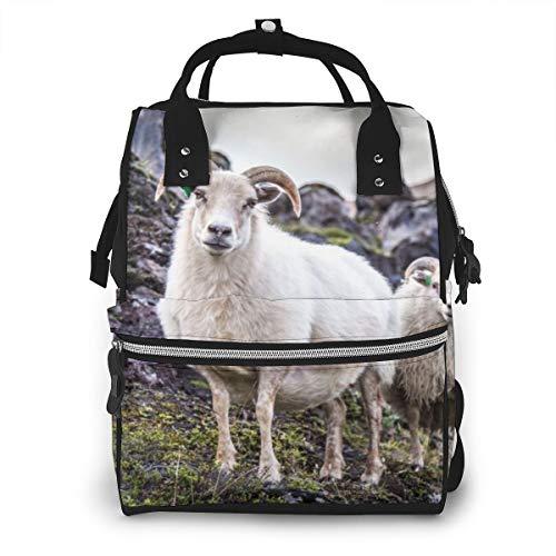 Isländische Schafe Natur Island Parks Außenhaut Cool Superweich Und Luxus Wickeltaschen Mode Mumie Rucksack Multi Funktionen Große Kapazität Wickeltasche Wickeltasche für Babypflege für unterwegs
