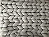 Merino Chunky 'Rene' Wolldecke XXL Kuscheldecke Grau Dicke Decke Wolle Warm Handmade Strick Flauschig Weich