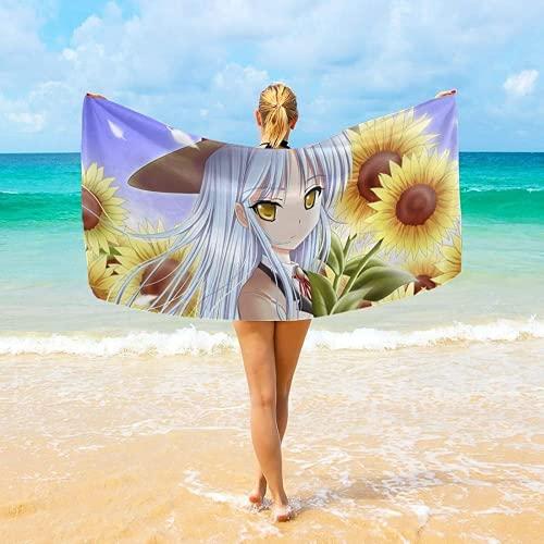 ZJJIAM Angel Beats! Toalla de playa, secado rápido, suave, absorbente, ideal para playa y piscina (5,75 x 150 cm)