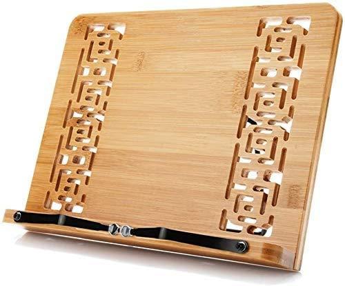 Herfair Soporte de bambú para libros, bandeja ajustable y clips de papel, portátil, resistente, ligero, con función atril (A)