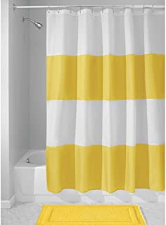 mDesign Bold Stripe Waterproof, Heavy Duty Flat Weave Fabric Shower Curtain - for Bathroom Showers and Bathtubs - 72