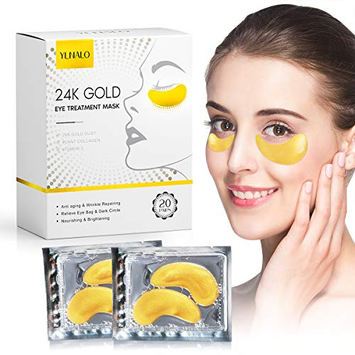 Under Eye Patches, 24K Gold Eye Mask, Eye Gel Pads With Collagen, Eyes Treatment With Hyaluronic Acid for Puffy Eyes Dark Circles, Wrinkles, Anti-Aging, Thanksgiving Christmas Gifts for Women Men (20 Pairs)
