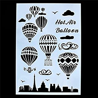 Welcome to Joyful Home 1PC Hot Air Balloon DIY Drawing Template Stencil for Journal/Diary/Calendar/Planner/Scrapbook A4 Size Wall Painting Stencil