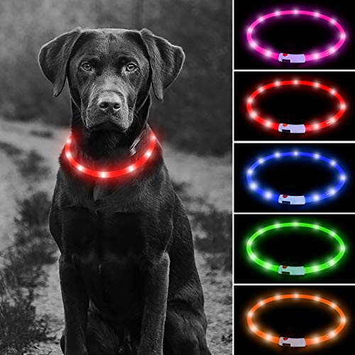 USB Rechargeable LED Dog Collar - Glowing Pet Safety Collar Silicone Cuttable Light Up Dog Collar Lights for Night Dog Walking (Red)