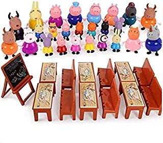 SKEIDO cartoon Friends Toys Soft Head for kids Gift With blackboard, chairs, Desks and bag- 25 pieces