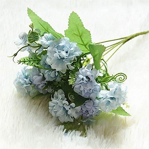 9 stuks hydrangea kunstbloemen, boeket bloemen, kunstbloemen van zijde, knutselen, woondecoratie, kunstbloemen bruiloft, tafeldecoratie boeket Blauw