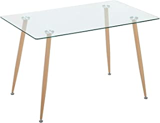 Mecor Dining Table Glass Top and Wooden Look Leg Modern Kitchen Table Rectangular