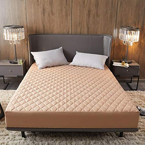 King Fitted Sheet,Brushed Solid Color Waterproof Padded Fitted Sheet, Urine-Proof Thick Mattress Cover, Oversized Non-Slip Sheet-camel_120x200+25cm