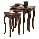 3-piece Curved Leg Nesting Tables Warm Brown...