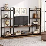 Tribesigns Large 3-Piece Entertainment Center Wall Units with Storage Shelves, Industrial Rustic TV Stand Media Console with Bookcases Book Shelves for Living Room (Medium Oak)