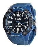 SEAC Sporty, Orologio Lifestyle all'Acqua 100 mt, Resistente Cinturino in Gomma Unisex Adulto, Blu, Standard