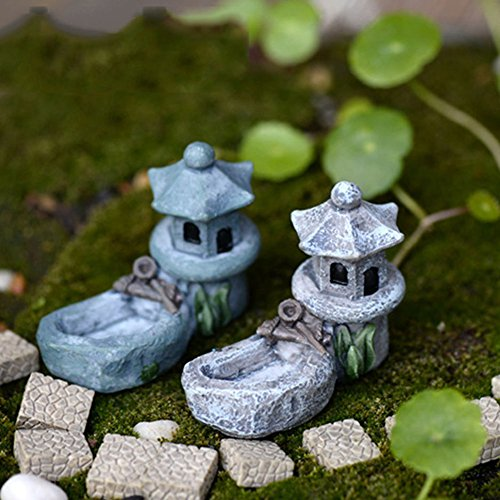 Mini Fairy Garden Ornament Retro Pond Tower Craft Dollhouse Plant Figurines Toys DIY Micro Landscape Ornament(Sent in Random)