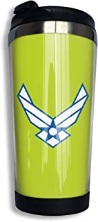 USAF Air Force Logo Stainless Steel Insulated Travel Mug For Coffee & Tea Thermos Keeps Drinks Steaming Hot Or Ice Cold Outdoor With Spill-Proof Lid