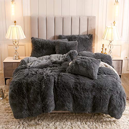 Uhamho Faux Fur Velvet Fluffy Bedding Duvet Cover Set Down Comforter Quilt Cover with Pillow Shams, Ultra Soft Warm and Durable (Queen, Dark Gray)