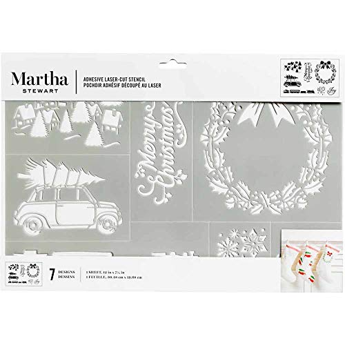 Martha Stewart Crafts Laser -Cut Adhesive Stencil, 1 Sheet - 12' x 7.75', Holiday Christmas