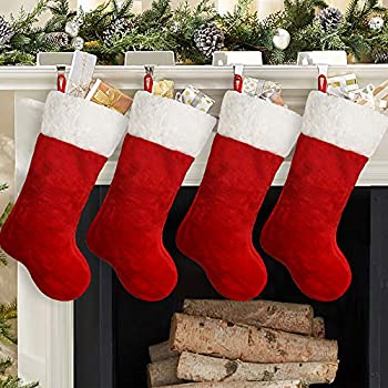 Ivenf Christmas Stockings 4 Pcs 19 inches Polyester Classic Red and White Plush Mercerized Velvet Stockings for Family Holiday Xmas Party Decorations