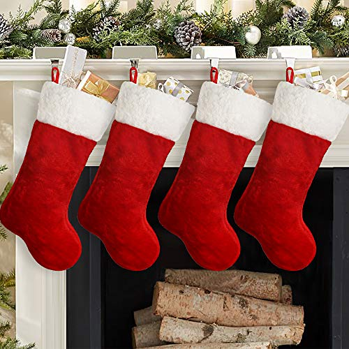 Ivenf Christmas Stockings, 4 Pcs 19 inches Polyester Classic Red and White Plush Mercerized Velvet Stockings, for Family Holiday Xmas Party Decorations