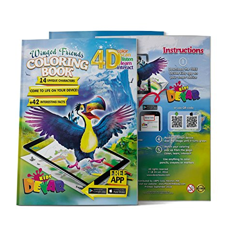 Devar Kids Augmented Reality Winged Friends Coloring Book