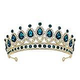 SWEETV Tiara de boda con diamantes de imitación para mujer, diadema de corona real, accesorios para el pelo de princesa de cristal para el baile de graduación, cumpleaños, color azul