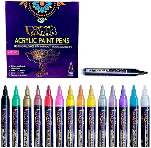 PINTAR Premium Acrylic Paint Pens 14 Colors Medium Tip Pens For Rock Painting Ceramic Glass product image
