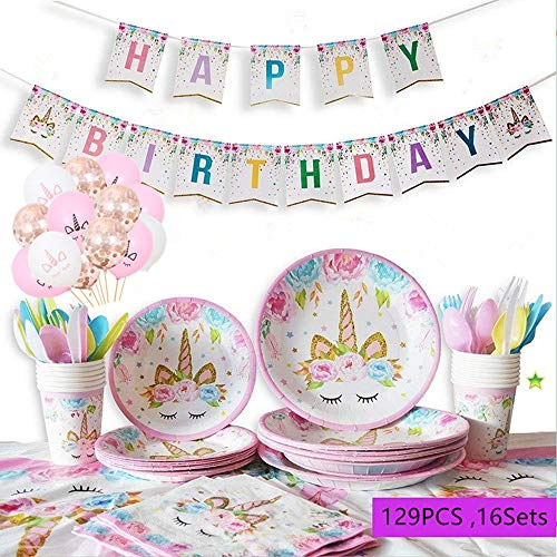 Topways® Unicorn Birthday Party Supplies Tableware Set - Girls Birthday Decorations Disposable Tableware Set Service 16 Guest with Utensils Plates, Cups, Tablecloth, Banner Decoration & Balloons