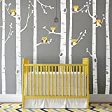 Simple Shapes Birch Tree with Owl Wall Decal - Scheme A - 96' (243 cm) Tall Trees