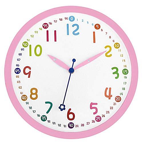 Foxtop Rosa Kinder Wanduhr 30cm Quartz Lautlos Farbenfrohe Kinderwanduhr Schleichende Sekunde ohne Ticken - Bunte Lernuhr für Kinder (12 Zoll)