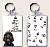 Keep Calm and Love Your Cockapoo Keyring with an Image of a Black Cockapoo. an Original Birthday or Christmas Stocking Filler Gift from Our Keep Calm and Carry On Range.
