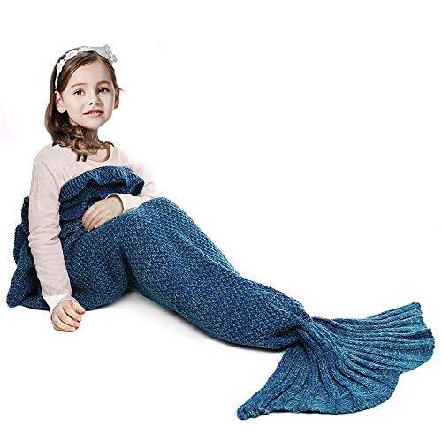 JR.WHITE Mermaid Tail Blanket for Kids,...