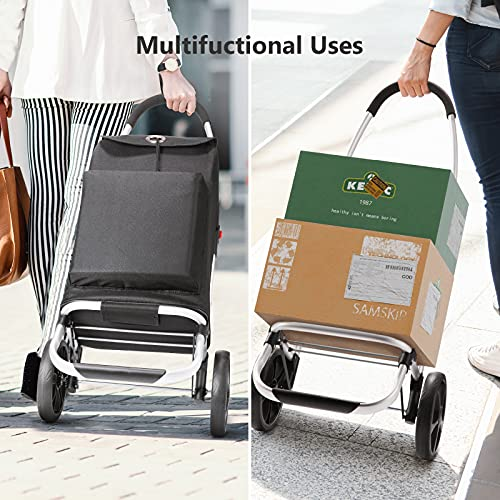 Folding Utility Shopping Cart, Foldable Grocery Shopping Cart with Waterproof Bag, Heavy-Duty Grocery Cart by EMILXXS