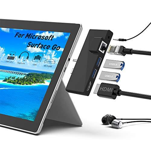 Surface Go Docking Station, 5-in-1-Surface Go Docking Station USB C-Hub HDMI Adapter Mit 1000 M RJ45 Ethernet, 4 K HDMI, 2 USB 3.0-Anschlüssen, Audio Mikrofonausgang für Microsoft Surface Go