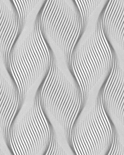 Streifen Tapete EDEM 85030BR36 Vinyltapete leicht strukturiert mit geschwungenen Linien und metallischen Akzenten grau licht-grau weiß silber 5,33 m2