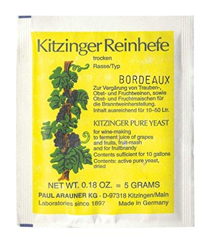 WEINHEFE Bordeaux Arauner Kitzinger - Levadura limpia seca para 50 l, levadura natural de vino de frutas, sal nutritiva de levadura, levadura de alcohol, levadura de metacrilato